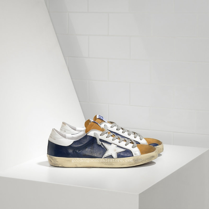 Golden Goose Super Star Sneakers In Leather With Leather Star MS590E28